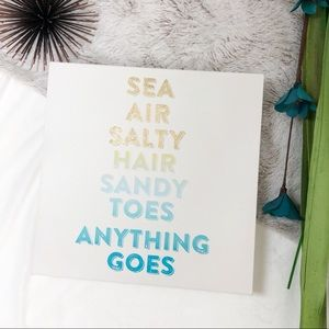 Sea Air Salty Hair Beach Quote Graphic Canvas Art